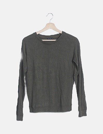 Jersey tricot verde corderas grises