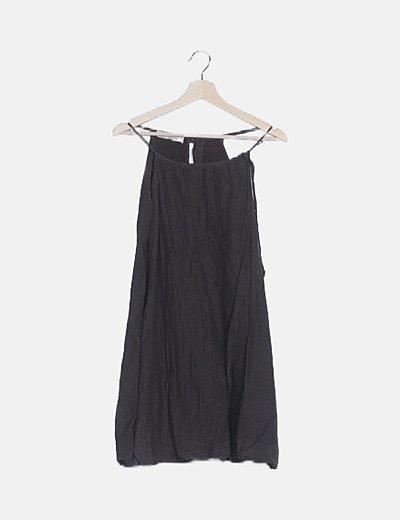 Vestido mini taupé tirantes
