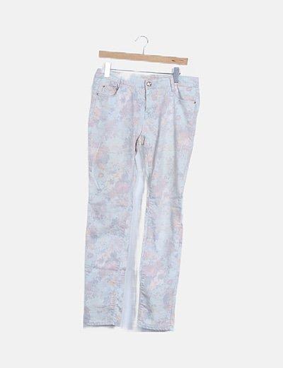 Pantalón recto floral efecto desgastado