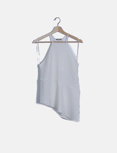 Blusa blanca halter troquelada