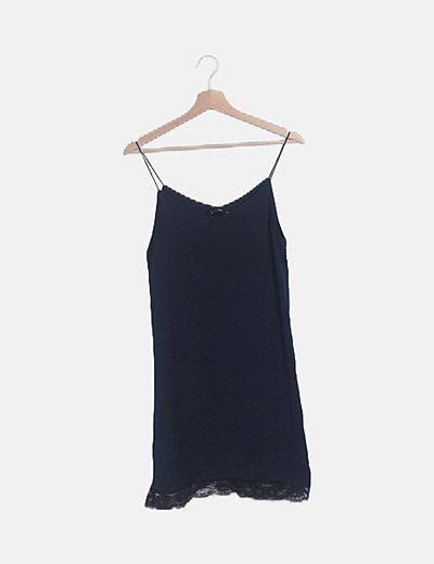 Vestido gasa azul marino ribete crochet