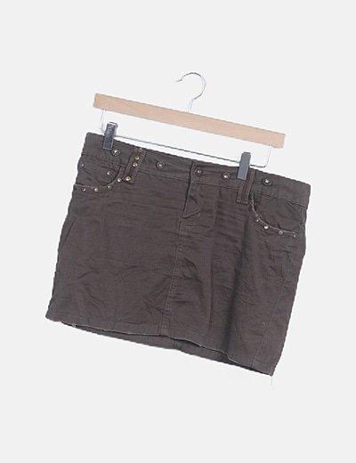 Minifalda denim marrón tachas bolsillos