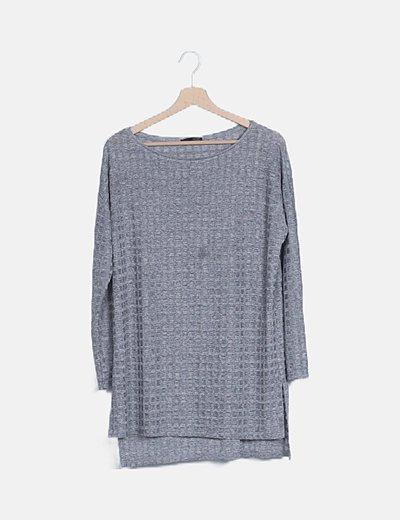Camiseta gris irisada manga larga