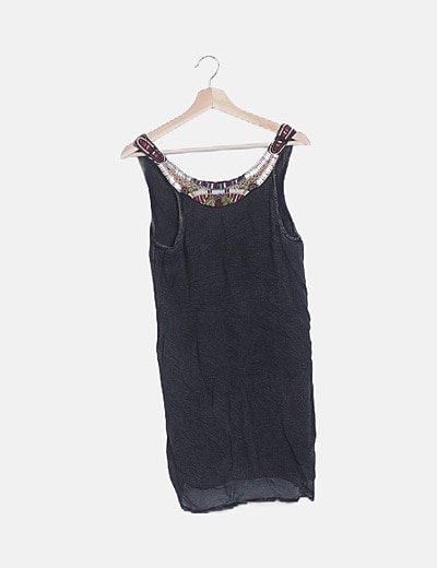Vestido mini detalle abalorios glitter