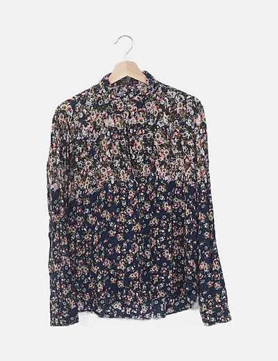 Camisa azul estampado flores