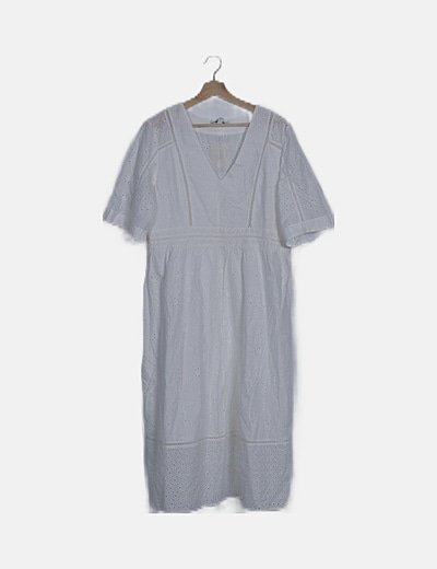Vestido blanco midi guipur