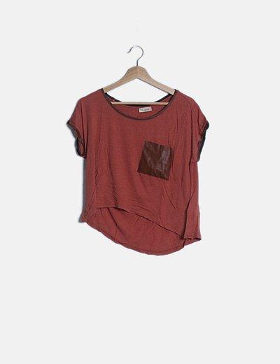 Camiseta manga corta combinada coral