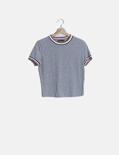 Camiseta canalé gris