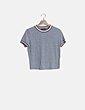 Camiseta canalé gris Bershka
