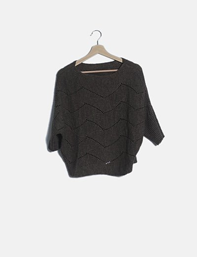 Jersey oversize tricot taupé