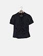 Camisa negra satinada manga corta H&M