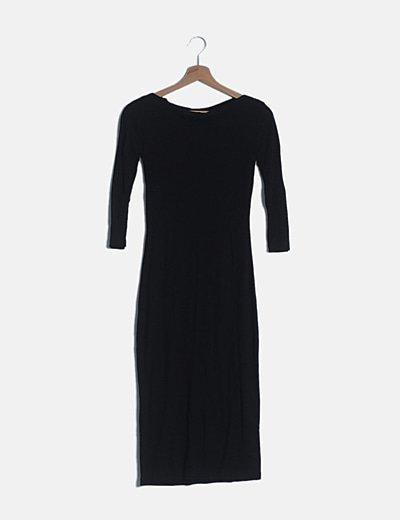 Vestido midi negro manga francesa
