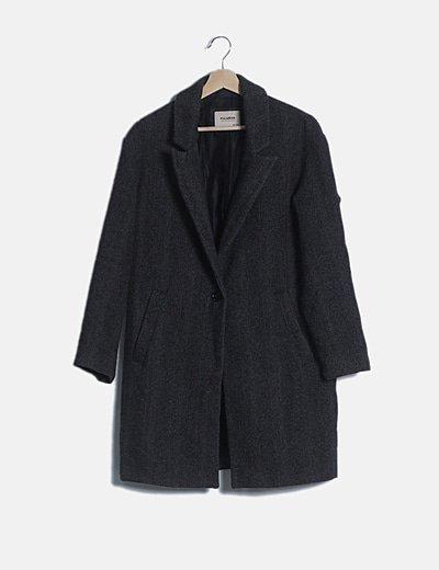 Abrigo de paño gris espiga