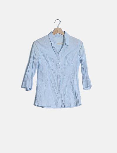 Camisa azul claro manga francesa