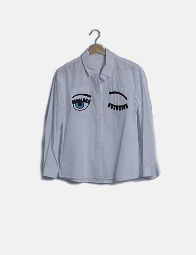 Camisa blanca print eyes