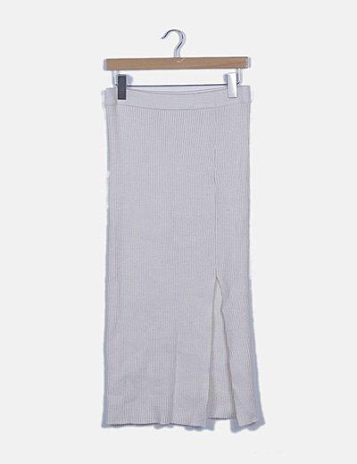 Falda tricot canalé blanca