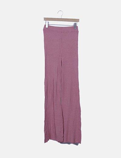 Pantalón canalé rosa