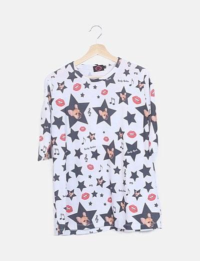 Camiseta larga oversize estampada