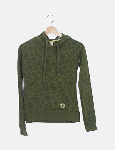 Sudadera verde print capucha