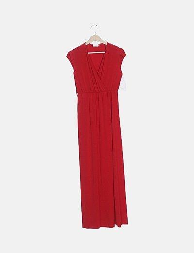 Vestido maxi rojo elástico