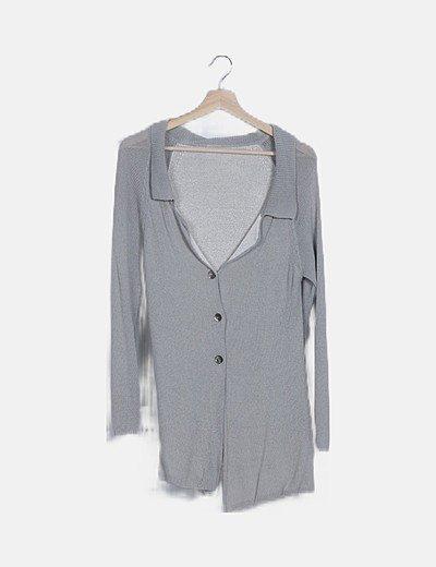 Chaqueta larga tricot gris