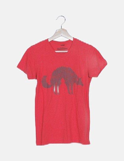 Camiseta roja print animal