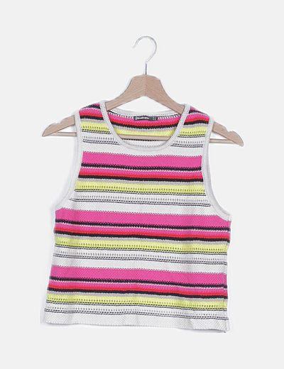 Conjunto top y short tricot rayas multicolor