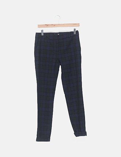 Pantalón chino cuadros bicolor