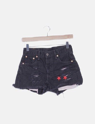 Pantalón short denim negro desflecado