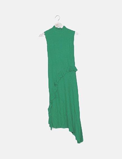 Vestido largo verde volantes