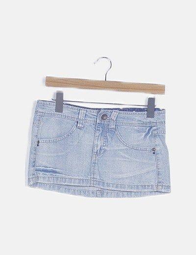 Mini falda denim con bolsillos