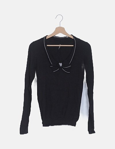 Jersey tricot negro detalle lazo