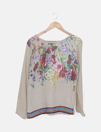 Blusa beige estampado floral