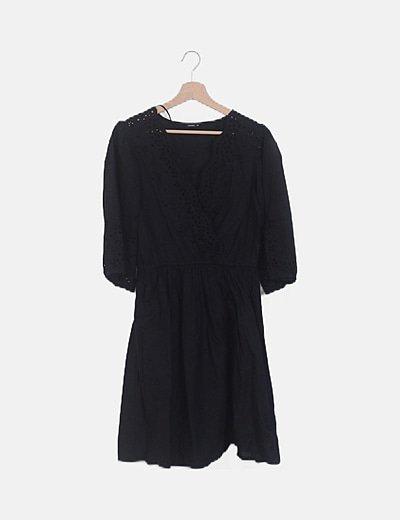 Vestido negro combinado manga francesa