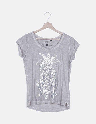 Camiseta gris print strass