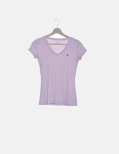 Camiseta texturizada rosa escote pico