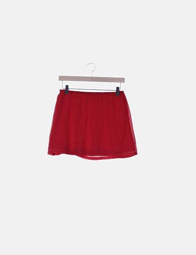 Falda mini roja fluida