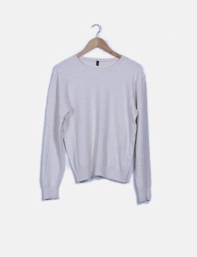 Jersey tricot blanco roto