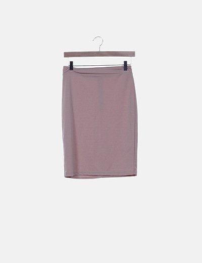 Falda tubo midi rosa palo