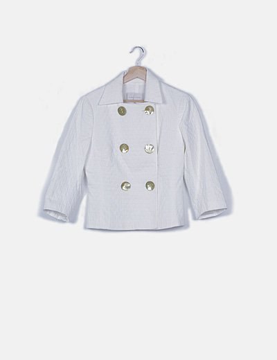 Chaqueta blanca texturizada doble botón