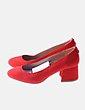 Zapato antelina rojo de tacón Bershka