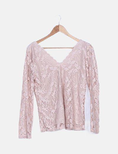 Camiseta encaje rosa palo lace up