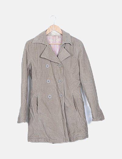 Abrigo largo de pana beige