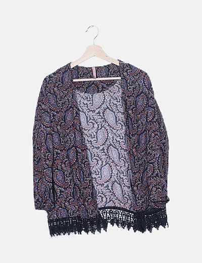 Kimono negro print cachemira