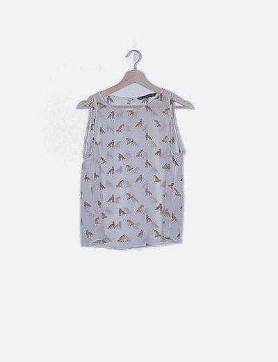 Blusa blanca semitransparente print zorro