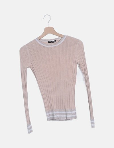Camiseta canalé rosa palo
