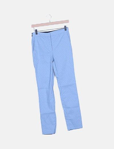 Pantalón chino azul estampado con elástico