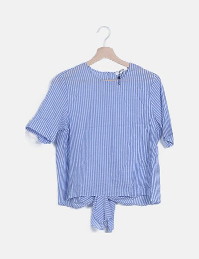 Blusa rayas azules con lazo