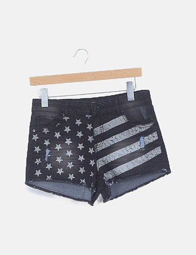 Short deni mprint bandera USA