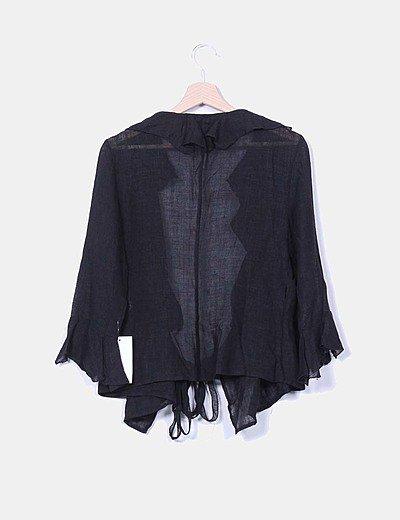 Chaqueta negra de lino cruzada